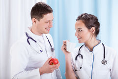 Doctors having lunch time Royalty Free Stock Photo