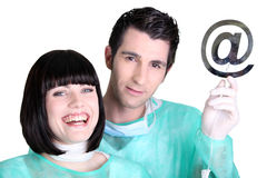Doctors holding  at symbol Stock Photo