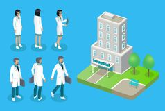 Doctors and Hospital House Isolated on 3D Poster stock illustration