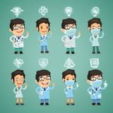 Doctors with Icons Set Royalty Free Stock Photography