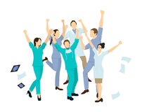 Doctors jump in joy. Isolated characters on white background stock illustration