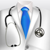 Doctors lab white coat and stethoscope Royalty Free Stock Photo