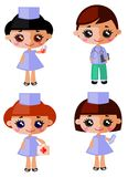 Doctors. Male and female doctor characters isolated on white background vector illustration