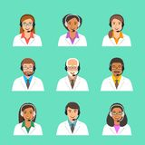 Doctors medical call center operators vector icons Stock Photos