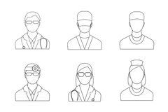 Doctors and Medical Staff Set Thin Line. Vector Stock Image