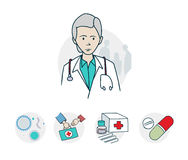 Doctors and medicines a series icons. Icon on medical subjects. Illustration of a funny cartoon style Royalty Free Stock Images