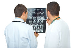 Doctors men review magnetic resonance Stock Image