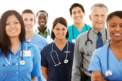 Doctors: Multi-Ethnic Group of Physicians. Multi-ethnic group of doctors, physicians, and nurses, both male and female. Isolated on a white background royalty free stock photo