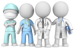 Doctors and Nurse. Dude the Doctors and Nurse x 4 standing in a row Stock Photo