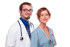 Doctors and Nurse on a White Background Stock Photo