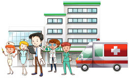 Doctors and nurse working at hospital Stock Photo