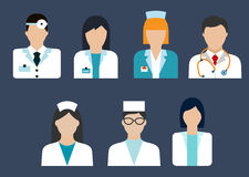 Doctors and nurses avatar flat icons Royalty Free Stock Image