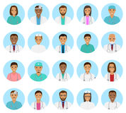 Doctors and nurses characters avatars set. Medical people icons of faces on a blue background. Stock Photo