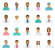 Doctors and nurses characters avatars set. Medical people icons of faces. Royalty Free Stock Photography