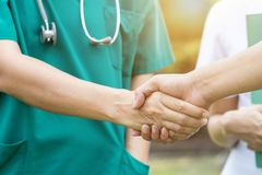 Doctors and nurses coordinate hands. Concept Teamwork royalty free stock photo