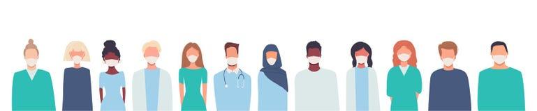 Doctors, nurses, healthcare workers, medical staff. Multiethnic group of people in medical masks. Coronavirus COVID-19