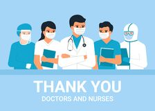 Doctors and nurses medical personnel, man and woman medical professional is hero. Thanks to doctors and nurses for