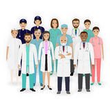 Doctors, nurses and paramedics characters icons. Group of medical staff. Hospital team. Medicine banner. Royalty Free Stock Photography