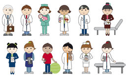 Doctors and nurses. Set of 12 cartoon characters, health and medical people Royalty Free Stock Photography
