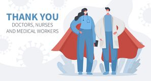 Doctors and nurses superheroes and covid 19 banner
