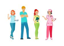 Doctors and nurses in uniform. People with a medical profession. Medical staff. Isolated icon on white background. Vector illustra. Tion Stock Images