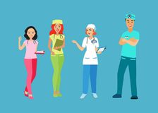 Doctors and nurses in uniform. People with a medical professional. Medical staff. Isolated icon on a blue background. Vector illustration Stock Image