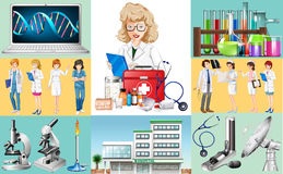 Doctors and nurses work at hospital. Illustration Stock Images