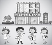 Doctors and nurses working at the hospital. Illustration Royalty Free Stock Photography