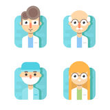 Doctors and other hospital staff: general doctor, therapist, surgeon and otolaryngologist.  vector illustration