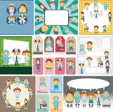 Doctors and Patient people card Royalty Free Stock Images