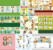 Doctors and Patient people card Stock Image