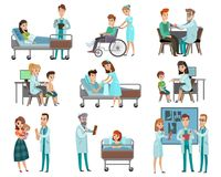Doctors Patients Characters Set. Set of characters doctors and patients during examination, discussion x-ray, hospital treatment isolated vector illustration Stock Photography