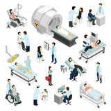 Doctors And Patients In Clinic. Isometric icons set with modern medical diagnostic and surgery equipment isolated vector illustration Royalty Free Stock Images