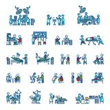 Doctors with patients in different action poses. Color vector illustration. Icon style set Stock Images