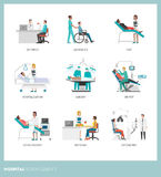 Doctors and patients. Doctors and healthcare professionals with patients: diagnosis and clinical treatment at the hospital Royalty Free Stock Image
