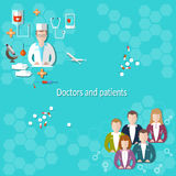 Doctors and patients. Medical education hospital examination, treatment, research vector illustration Stock Image