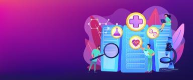Big data healthcare concept banner header. Doctors and personalized prescriptive analytics. Big data healthcare, personalized medicine, big data patient care stock illustration