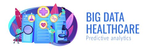Big data healthcare concept banner header. Doctors and personalized prescriptive analytics. Big data healthcare, personalized medicine, big data patient care vector illustration