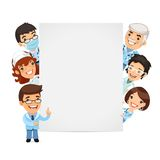Doctors Presenting Empty Vertical Banner Royalty Free Stock Photography
