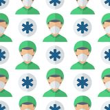 Doctors profession characters seamless pattern background vector medical people. Doctors profession charactsers seamless pattern background ector medical people vector illustration