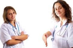Doctors are saluting Royalty Free Stock Photos