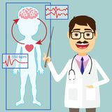 Doctors says. Vector illustration of doctor pointing to diagram of blood pressure and circulatory system between heart and brain with an ECG tracing Stock Images
