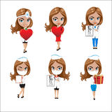 Doctors set of girls in various poses, woman doctor, nurse, health worker with different objects Stock Photos