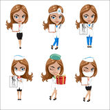 Doctors set of girls in various poses, woman doctor, nurse, health worker with different objects Stock Photography