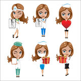 Doctors set of girls in various poses, woman doctor, nurse, health worker with different objects Royalty Free Stock Image