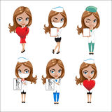 Doctors set of girls in various poses, woman doctor, nurse, health worker with different objects Royalty Free Stock Photo