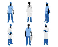 Doctors silhouettes on white Stock Photo