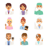 Doctors specialists faces vector set. Stock Image