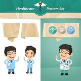 Doctors with Speech Bubbles Set Stock Images