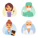 Doctors spetialists faces vector set. Group of doctors and nurses and medical staff people. Medical team doctors specialists concept in flat design people Royalty Free Stock Image